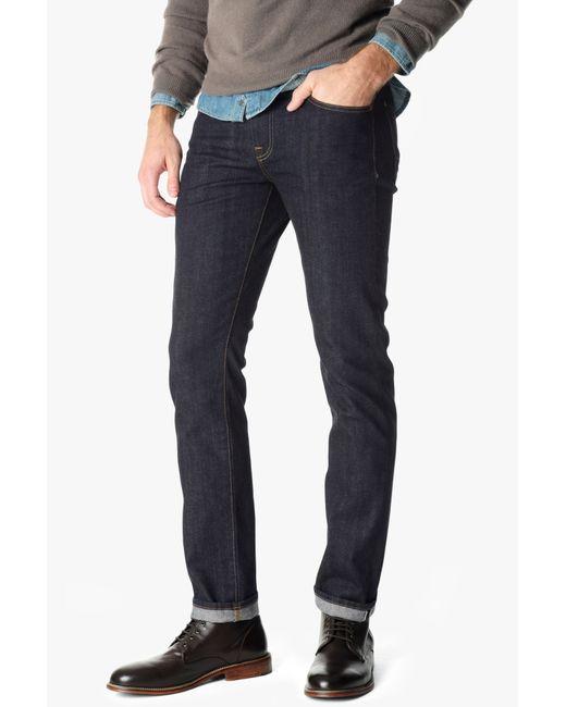 7 For All Mankind | Blue Stretch Selvedge Slimmy Slim Straight With Split Seam Pocket In Dark Indigo | Lyst