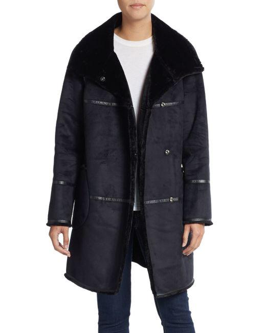 Saks Fifth Avenue | Black Faux Shearling Coat | Lyst