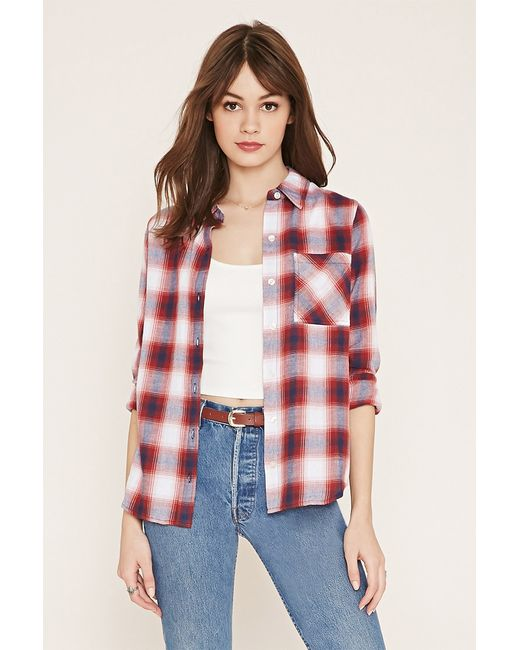 Forever 21 Plaid Flannel Shirt In Red Cream Red Save