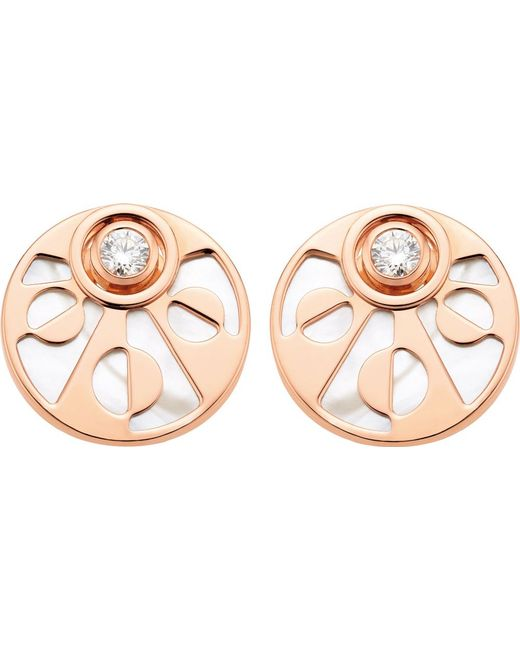 BVLGARI | Intarsio 18Ct Pink-Gold Stud Earrings With Mother Of Pearl And Diamonds - For Women | Lyst