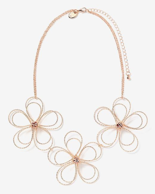Addition Elle - Metallic Short Metal Flower Necklace - Lyst