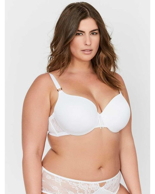24aa23d72 Addition Elle - White Ashley Graham Essentials Icon T-shirt Bra With Lace    Thin ...