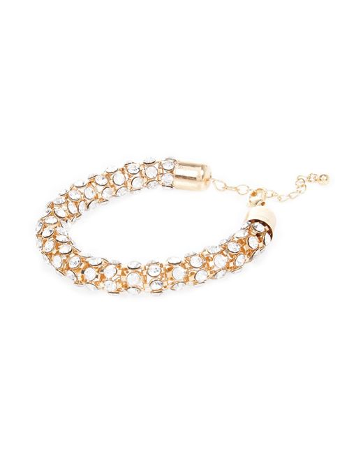 River Island | Metallic Gold Tone Encrusted Rope Bracelet | Lyst