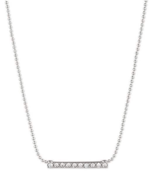 Anne Klein | Metallic Silver-tone Crystal Pavé Tubular Strand Necklace | Lyst