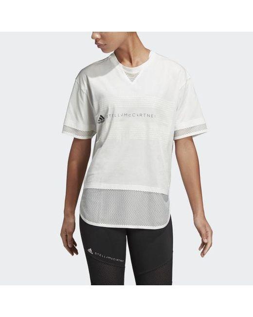 e2da80fdb70 Adidas - White Logo Mesh Tee - Lyst ...