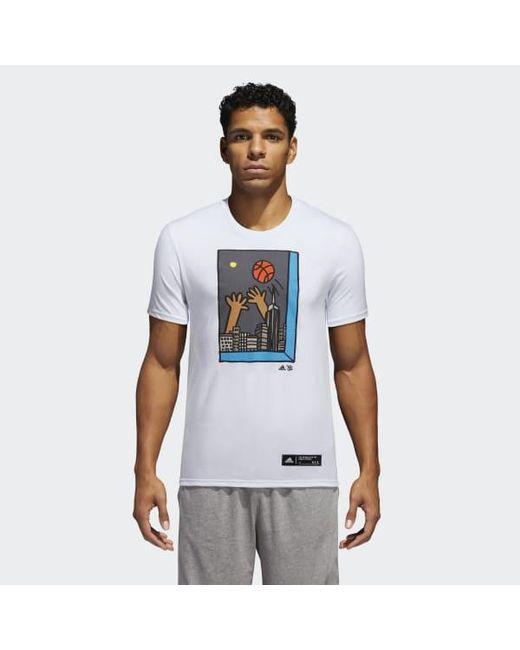 Adidas - White Cleofus Bball Night Sky Tee for Men - Lyst