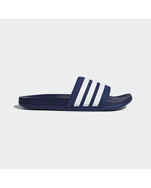 5d3a2b703842d Adidas - Blue Adilette Cloudfoam Plus Stripes Slides - Lyst ...