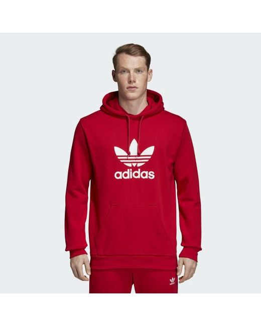 78d3474a0 Adidas - Red Trefoil Hoodie for Men - Lyst ...