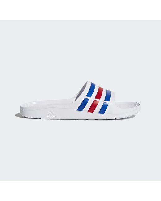 online store 6566d 11411 Adidas - White Duramo Slides for Men - Lyst ...