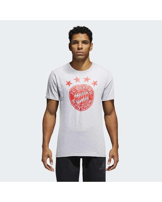 Adidas - Gray Fc Bayern Brushed Stripes Tee for Men - Lyst