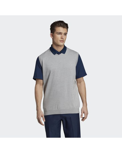 Adidas - Gray Adipure Refined Sweater Vest for Men - Lyst ... 76d6310bdadda
