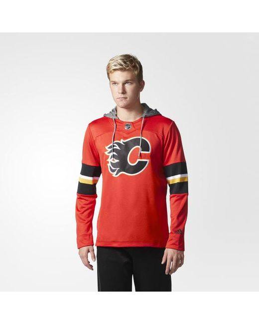 Adidas - Red Flames Jersey Replica Pullover Hoodie for Men - Lyst