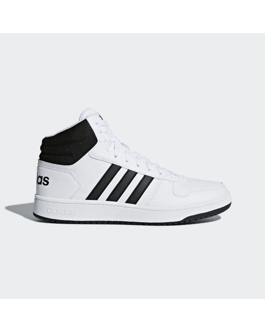 low priced 34a74 671cf Adidas - White Hoops 2.0 Mid Shoes for Men - Lyst ...