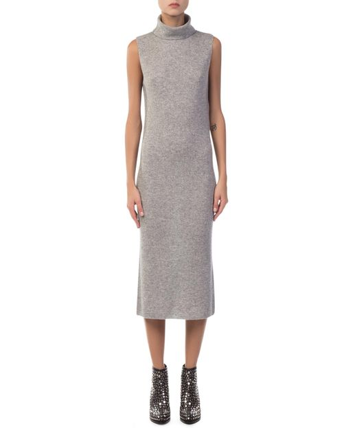 James Perse - Gray Cashmere Ribbed Turtleneck Grey Dress - Lyst