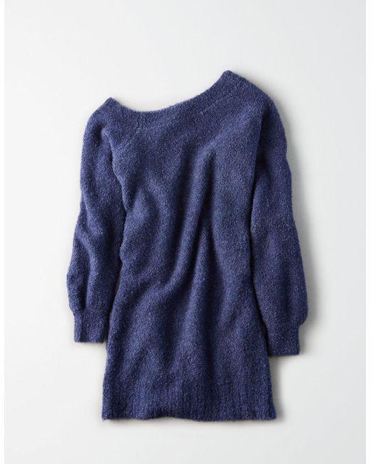 0b88370fc9b ... American Eagle - Blue Ae One Shoulder Boucle Sweater Dress - Lyst