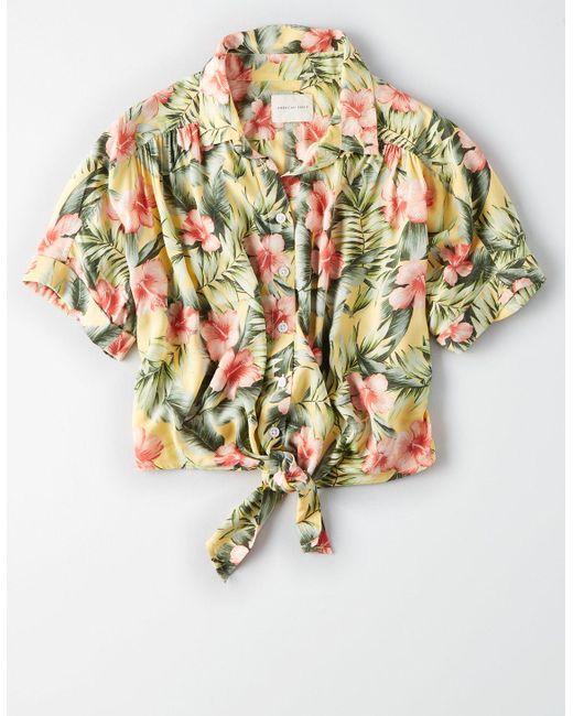 8ff5594e ... American Eagle - Yellow Ae Hawaiian Button Down Shirt - Lyst ...