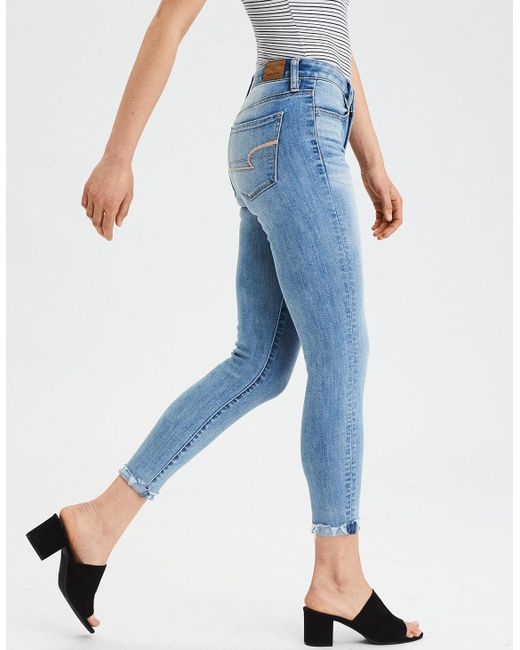 854fffbf1c169 Lyst american eagle ae ne level high waisted jegging crop in blue jpeg  520x650 American eagle
