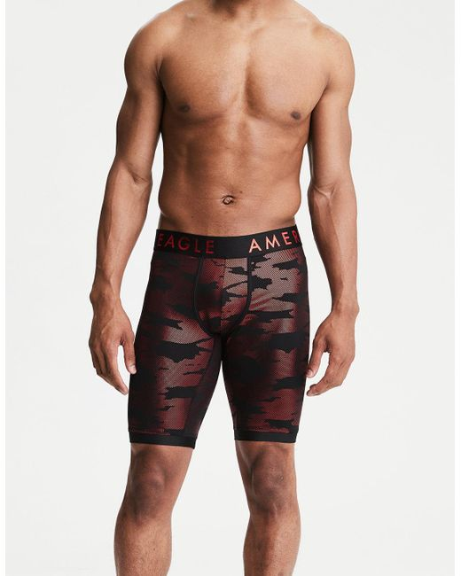 "American Eagle - Red Stretch Metallic Camo 9"" Boxer Brief for Men - Lyst"