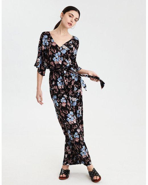 60e7b87998e3 American Eagle - Black Ae Kimono Wrap Jumpsuit - Lyst ...