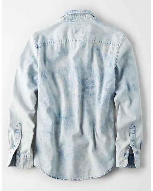96dae8887ce ... American Eagle - Blue Ae Long Sleeve Acid Wash Denim Button Down Shirt  for Men ...