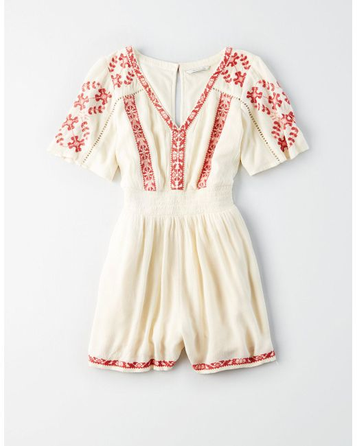 fc427b5f7df8 American Eagle - Natural Ae Embroidered Short Sleeve Romper - Lyst ...