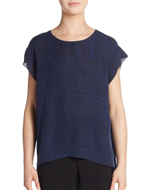 VINCE | Blue Printed Silk Top | Lyst