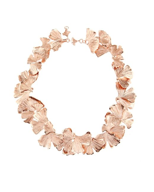 Aurelie Bidermann | Pink Ginkgo Rose-gold Plated Necklace | Lyst