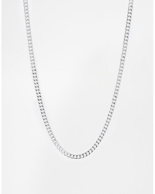 ASOS | Metallic Midweight Chain - Silver | Lyst
