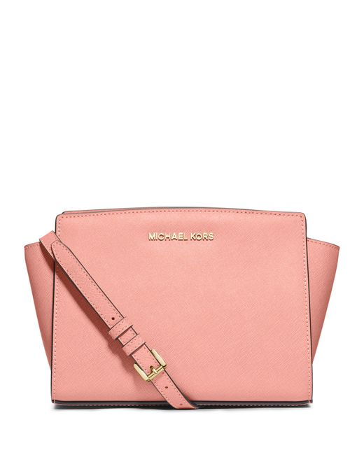 MICHAEL Michael Kors | Pink Selma Medium Saffiano Messenger Bag | Lyst