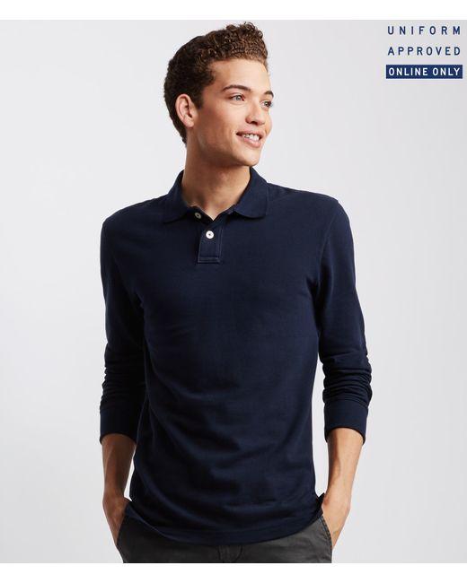 Aéropostale   Blue Long Sleeve Solid Uniform Piqué Polo for Men   Lyst