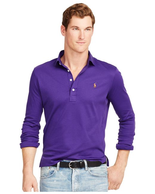Polo ralph lauren long sleeved pima soft touch shirt in for Long sleeve purple polo shirt