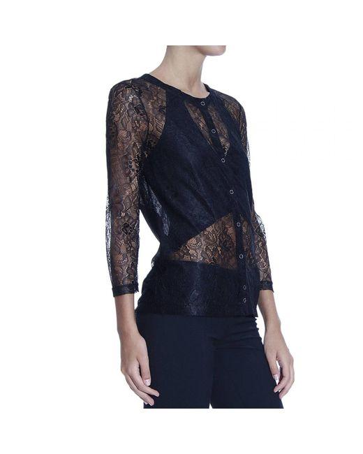 Patrizia Pepe | Black Lurex Lace Long-sleeve Shirt | Lyst
