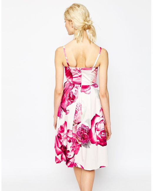 Asos Bright Pink Floral Bandeau Midi Prom Dress in Pink