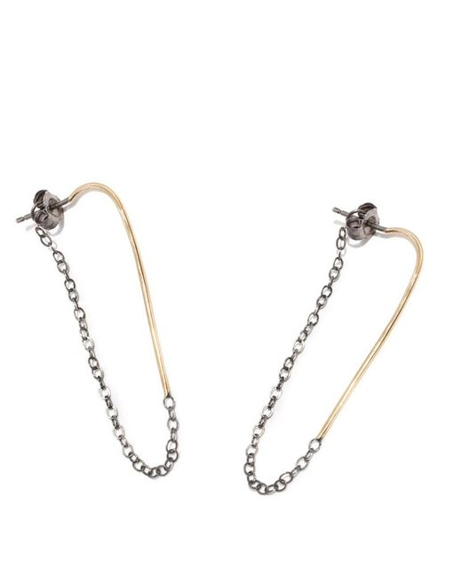 Melissa Joy Manning | Metallic Bar Hoop With Chain Wrap Earrings | Lyst