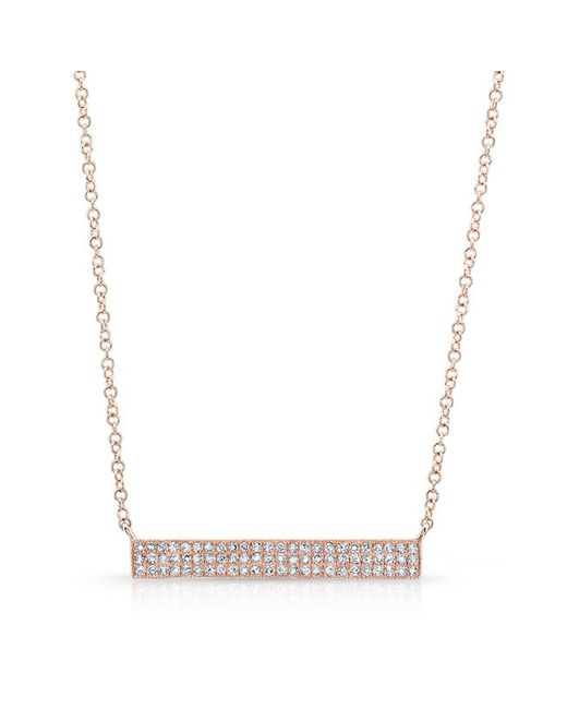 Anne Sisteron | Metallic 14kt Rose Gold Diamond Wide Bar Necklace | Lyst