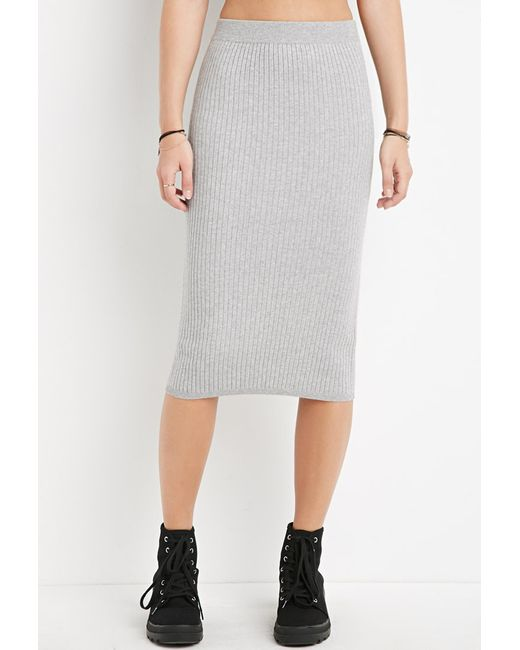 Forever 21 | Gray Ribbed Knit Bodycon Skirt | Lyst