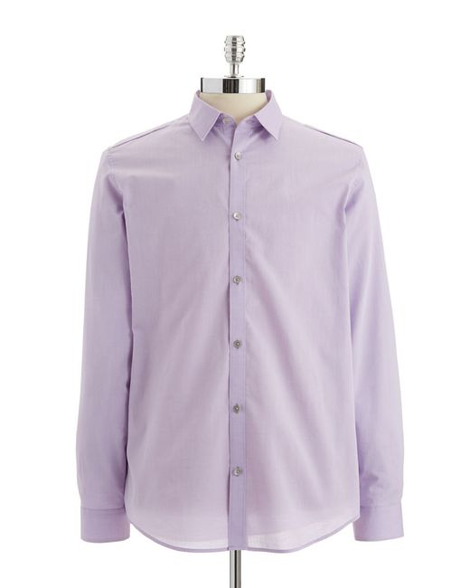 Calvin Klein | Purple Link Stripe Chambray Dobby Shirt for Men | Lyst