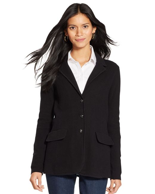 Lauren by Ralph Lauren | Black Cotton Sweater Blazer | Lyst