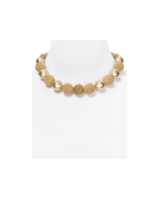 Carolee | White Faux-pearl Mix Bauble Necklace, 17"
