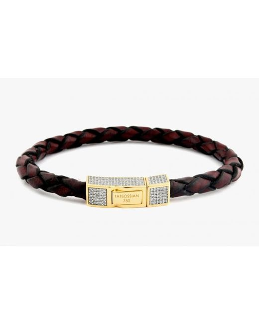 Tateossian | Single Wrap Brown Leather Scoubidou Bracelet With White Diamond And 18k Yellow Gold Clasp for Men | Lyst