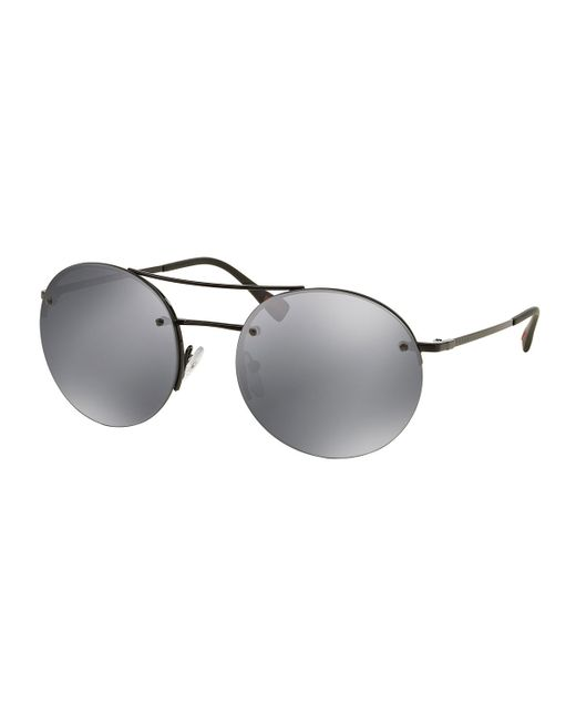 Prada Rimless Round Sunglasses With Mirror Frames in Black ...