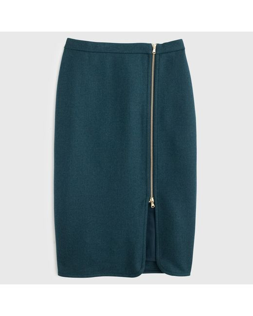 J.Crew | Blue Wool Zip Pencil Skirt | Lyst