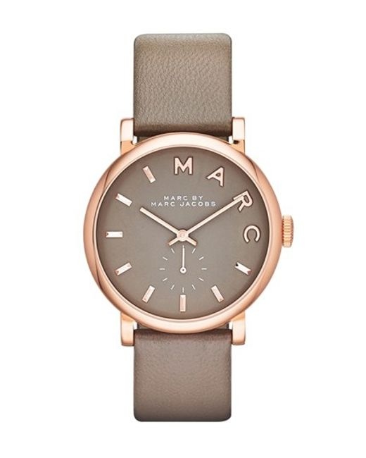 Marc Jacobs | Pink 'baker' Leather Strap Watch | Lyst