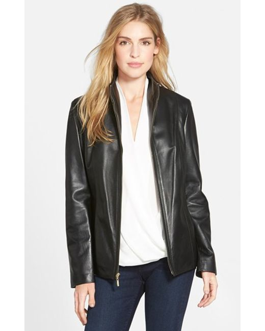 Cole Haan | Black Wing Collar Lambskin Leather Jacket | Lyst