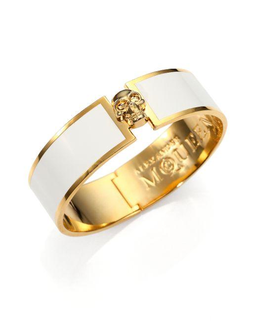 Alexander McQueen | White Enamel Skull Button Bangle Bracelet | Lyst