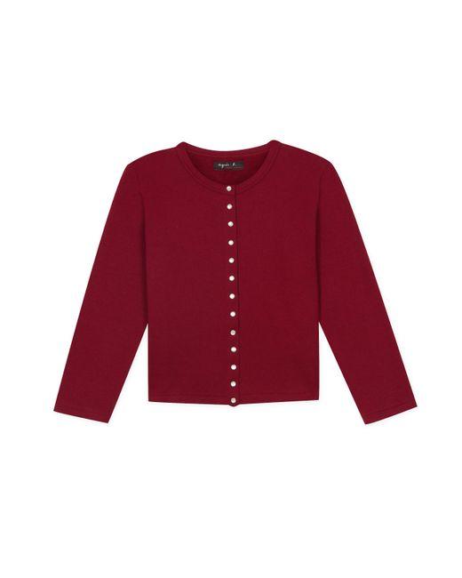 "Agnes B. - Red Bordeaux 3/4-sleeve ""12 Ans"" Snap Cardigan - Lyst"