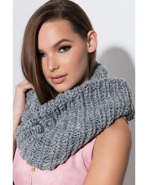 Akira - Gray Like That Knit Infinity Scarf - Lyst