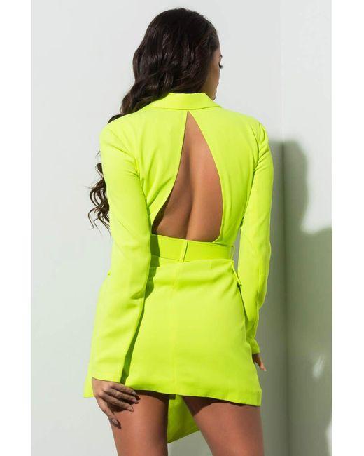 fc46e8e33c92 ... Akira - Yellow Stargazed Neon Blazer Dress - Lyst ...
