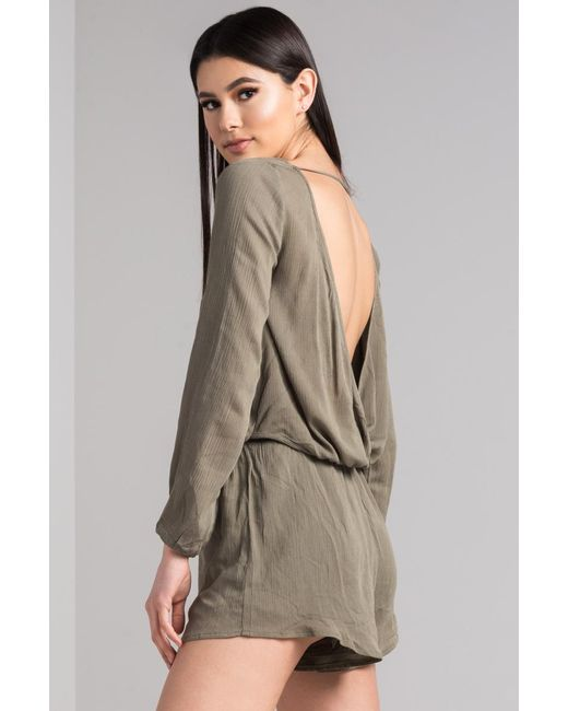 d99c887f7d15 ... Lyst Akira - Green Don t Have To Be Lonely Open Back Romper ...