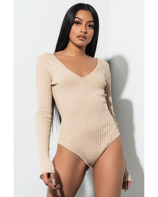 66bedf2e5c Akira - Natural Express Yourself Long Sleeve Bodysuit - Lyst ...